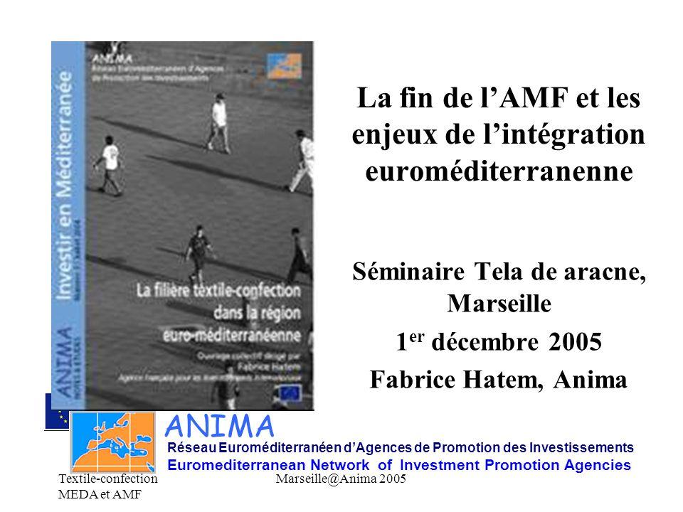 Textile-confection MEDA et AMF Marseille@Anima 2005 La fin de lAMF et les enjeux de lintégration euroméditerranenne Séminaire Tela de aracne, Marseill