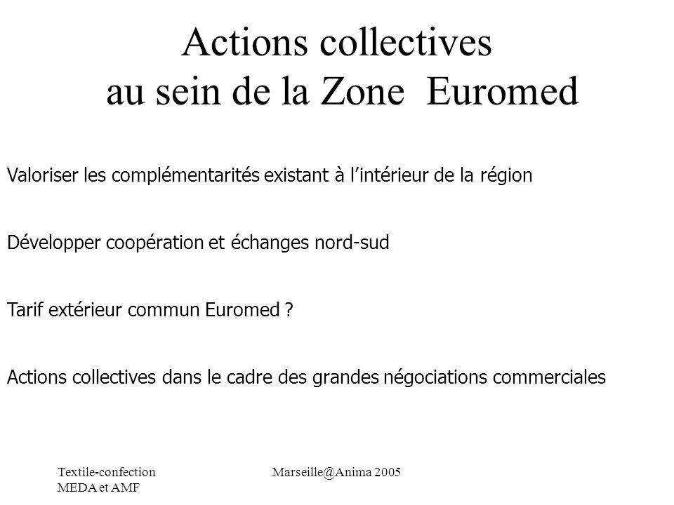 Textile-confection MEDA et AMF Marseille@Anima 2005 Actions collectives au sein de la Zone Euromed Valoriser les complémentarités existant à lintérieu