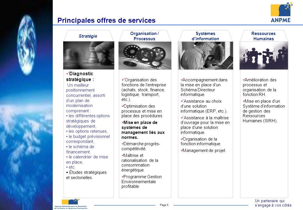 Un partenaire qui sengage à vos côtés Page 6 Principales offres de services Organisation / Processus Organisation des fonctions de lentreprise (achats