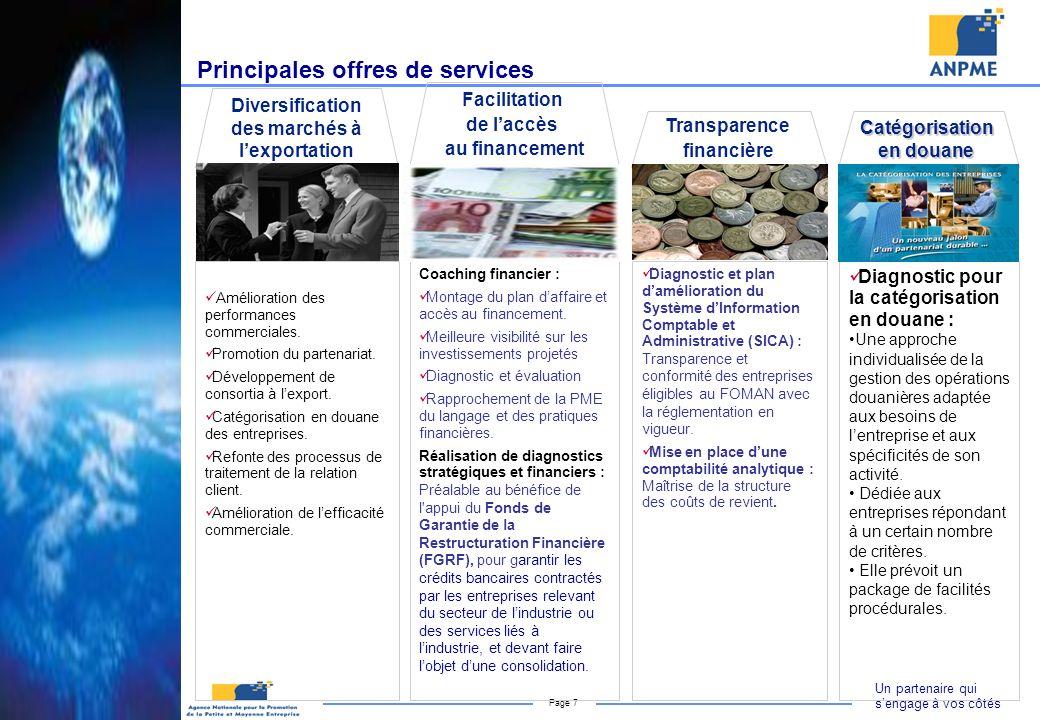 Un partenaire qui sengage à vos côtés Page 7 Diversification des marchés à lexportation Amélioration des performances commerciales. Promotion du parte