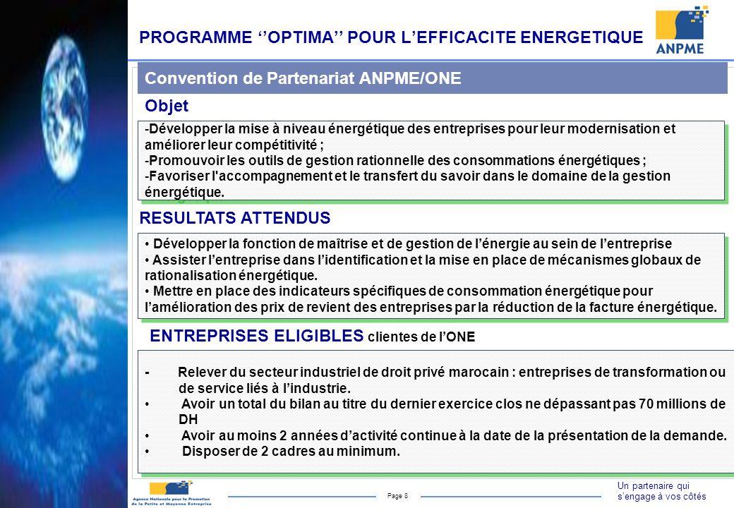 Un partenaire qui sengage à vos côtés Page 8 PROGRAMME OPTIMA POUR LEFFICACITE ENERGETIQUE RESULTATS ATTENDUS -Développer la mise à niveau énergétique