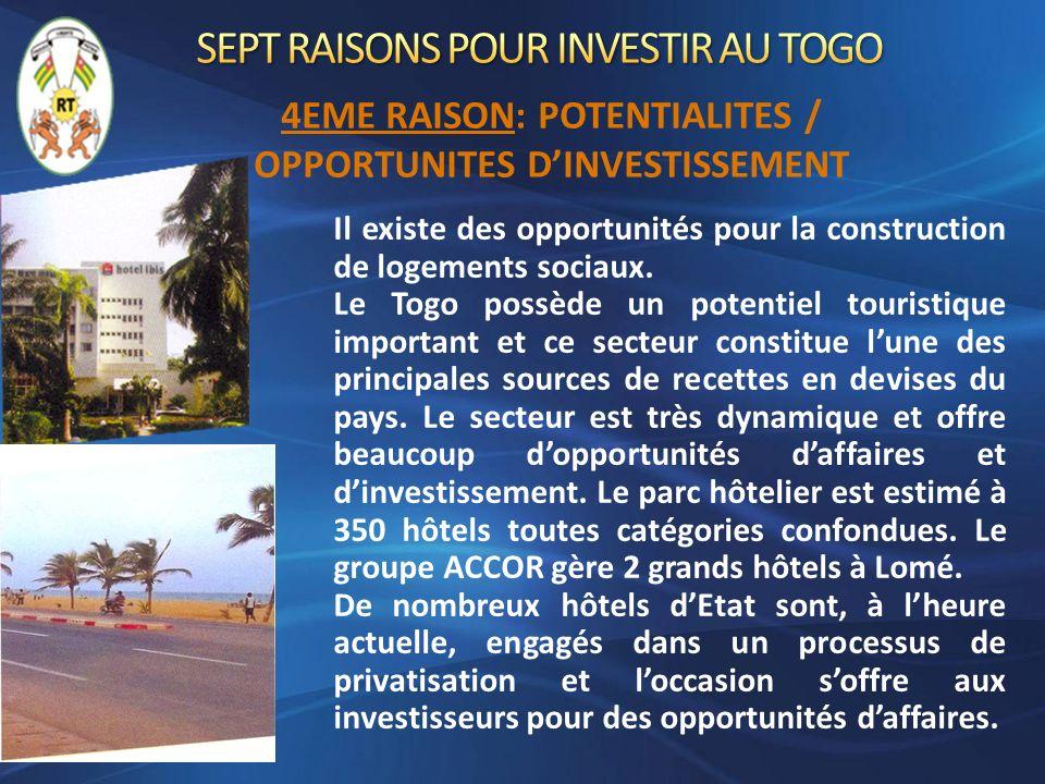 Il existe des opportunités pour la construction de logements sociaux. Le Togo possède un potentiel touristique important et ce secteur constitue lune