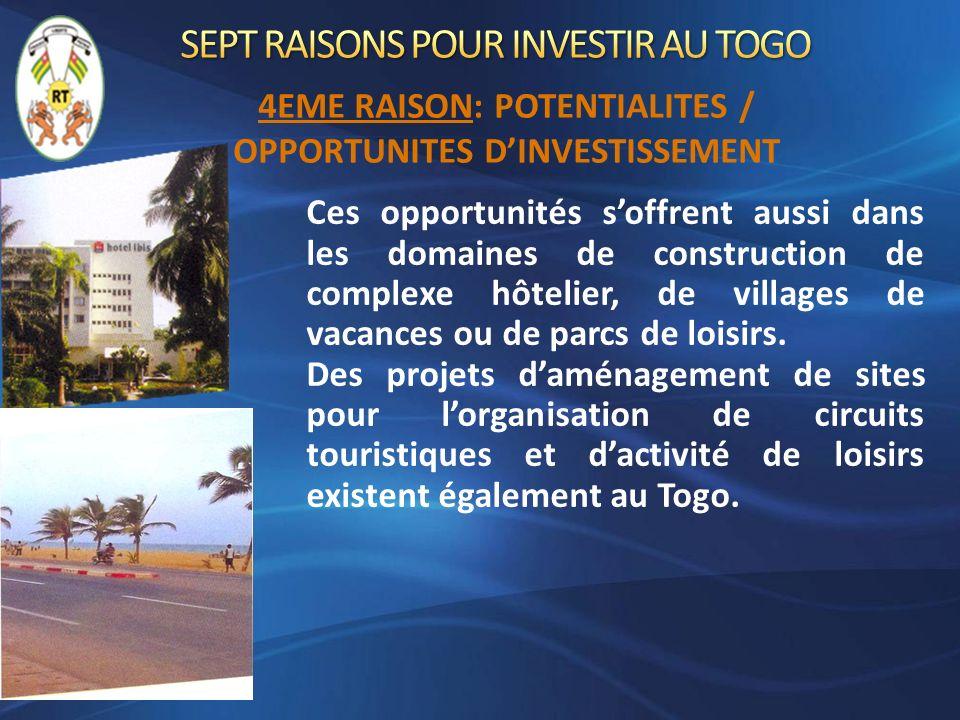 Ces opportunités soffrent aussi dans les domaines de construction de complexe hôtelier, de villages de vacances ou de parcs de loisirs. Des projets da
