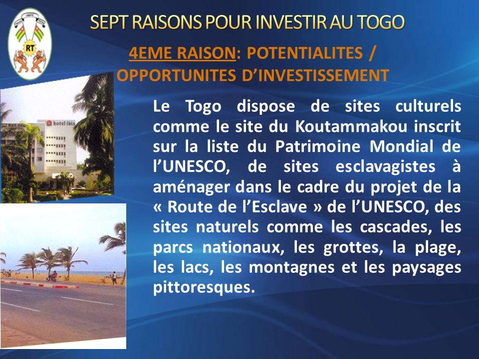 Le Togo dispose de sites culturels comme le site du Koutammakou inscrit sur la liste du Patrimoine Mondial de lUNESCO, de sites esclavagistes à aménag