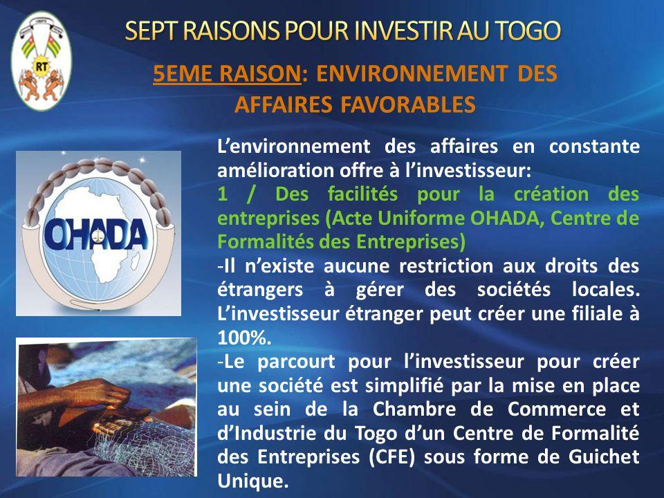 Lenvironnement des affaires en constante amélioration offre à linvestisseur: 1 / Des facilités pour la création des entreprises (Acte Uniforme OHADA,