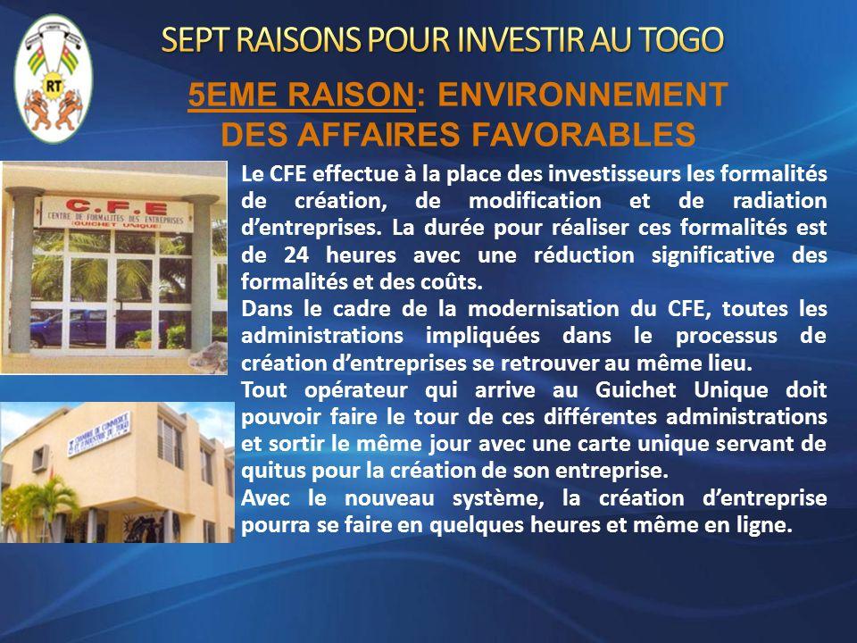 Le CFE effectue à la place des investisseurs les formalités de création, de modification et de radiation dentreprises. La durée pour réaliser ces form
