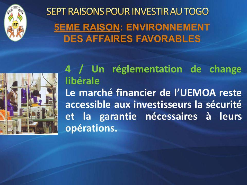 4 / Un réglementation de change libérale Le marché financier de lUEMOA reste accessible aux investisseurs la sécurité et la garantie nécessaires à leu