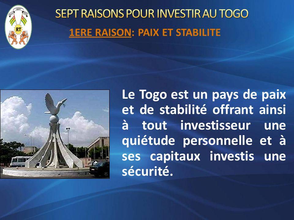 Le Togo est un pays de paix et de stabilité offrant ainsi à tout investisseur une quiétude personnelle et à ses capitaux investis une sécurité. 1ERE R