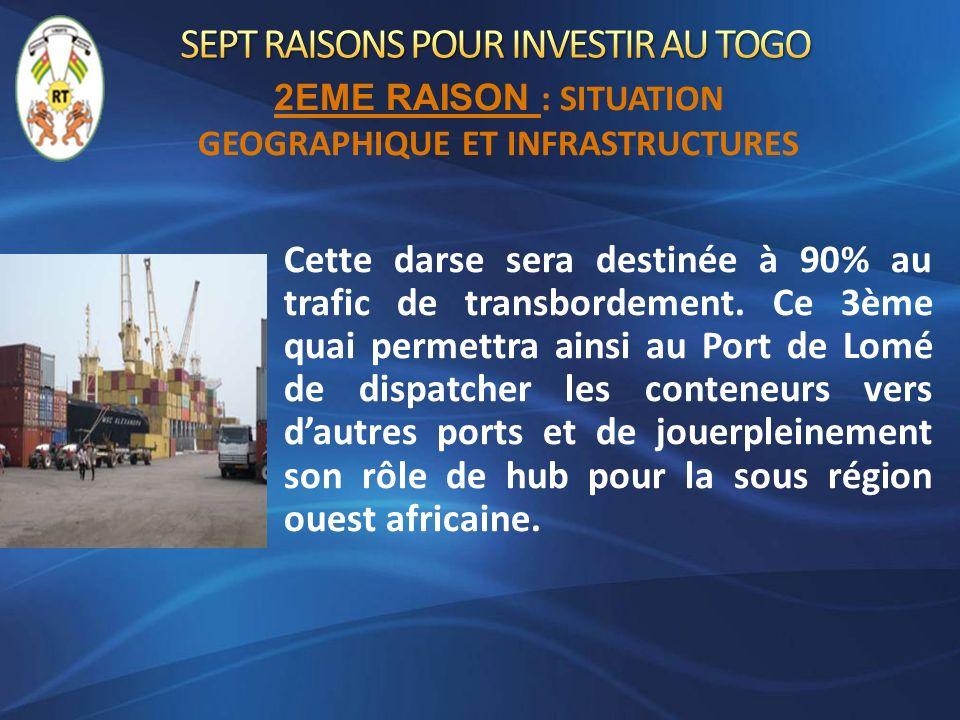 Cette darse sera destinée à 90% au trafic de transbordement. Ce 3ème quai permettra ainsi au Port de Lomé de dispatcher les conteneurs vers dautres po
