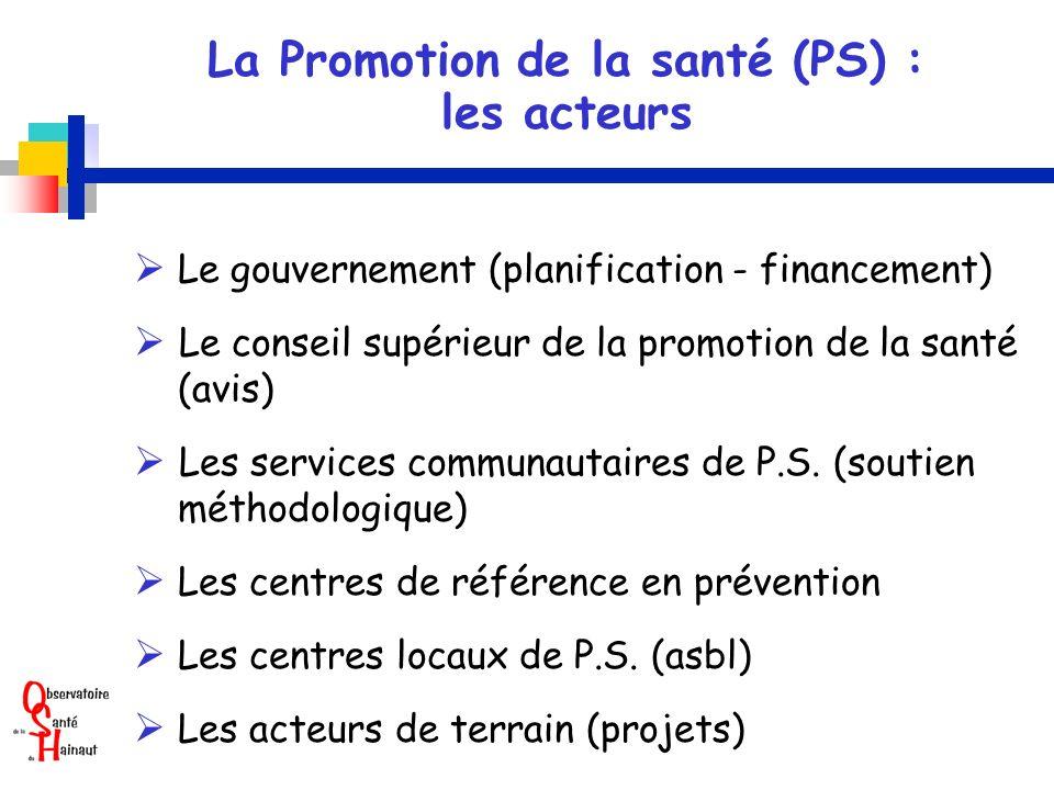 La Promotion de la santé (PS) : les acteurs Le gouvernement (planification - financement) Le conseil supérieur de la promotion de la santé (avis) Les services communautaires de P.S.