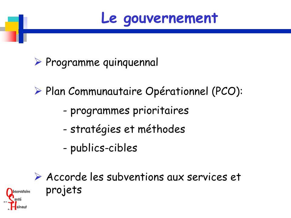 Le gouvernement Programme quinquennal Plan Communautaire Opérationnel (PCO): - programmes prioritaires - stratégies et méthodes - publics-cibles Accorde les subventions aux services et projets