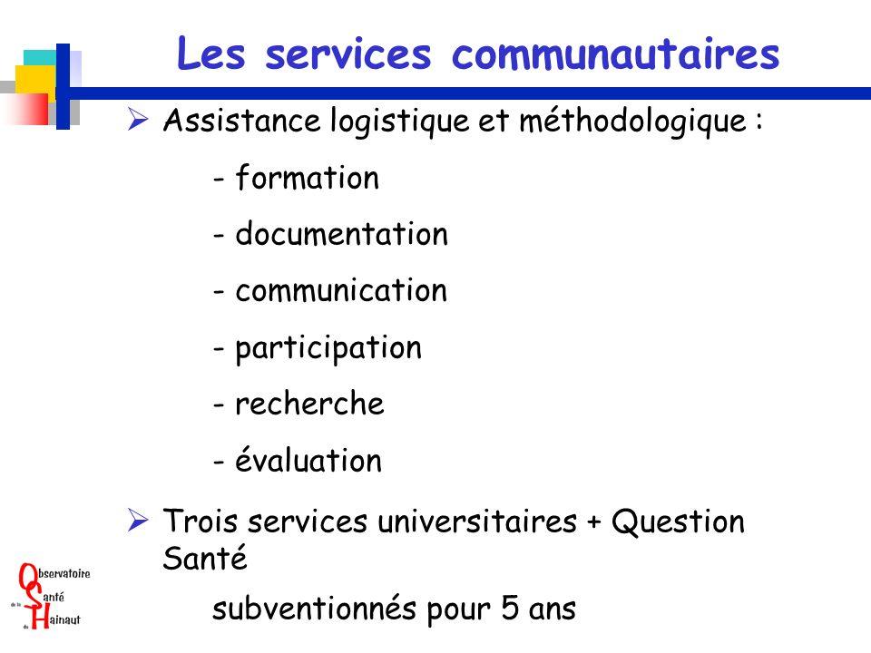 Les services communautaires Assistance logistique et méthodologique : - formation - documentation - communication - participation - recherche - évalua