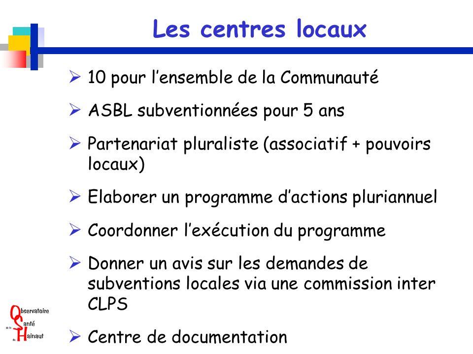 Les centres locaux 10 pour lensemble de la Communauté ASBL subventionnées pour 5 ans Partenariat pluraliste (associatif + pouvoirs locaux) Elaborer un