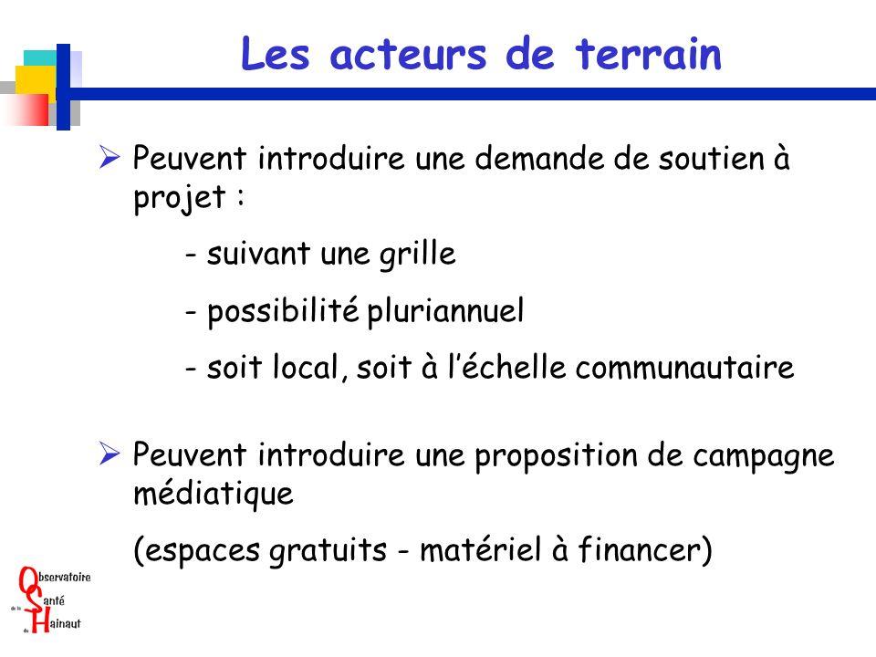 Les acteurs de terrain Peuvent introduire une demande de soutien à projet : - suivant une grille - possibilité pluriannuel - soit local, soit à léchel