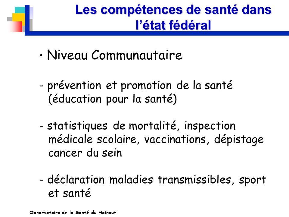 Les compétences de santé dans létat fédéral Niveau Communautaire - prévention et promotion de la santé (éducation pour la santé) - statistiques de mor