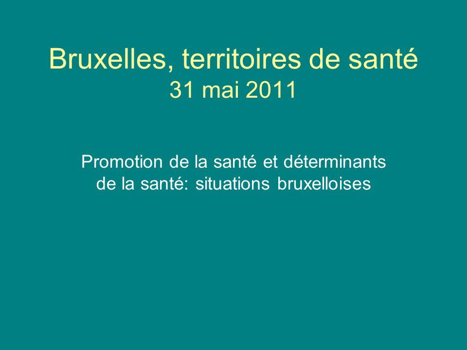 Bruxelles, territoires de santé 31 mai 2011 Promotion de la santé et déterminants de la santé: situations bruxelloises