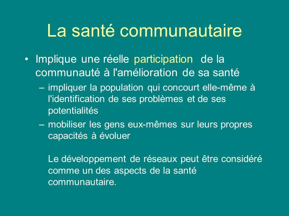 La santé communautaire Implique une réelle participation de la communauté à l'amélioration de sa santé –impliquer la population qui concourt elle-même