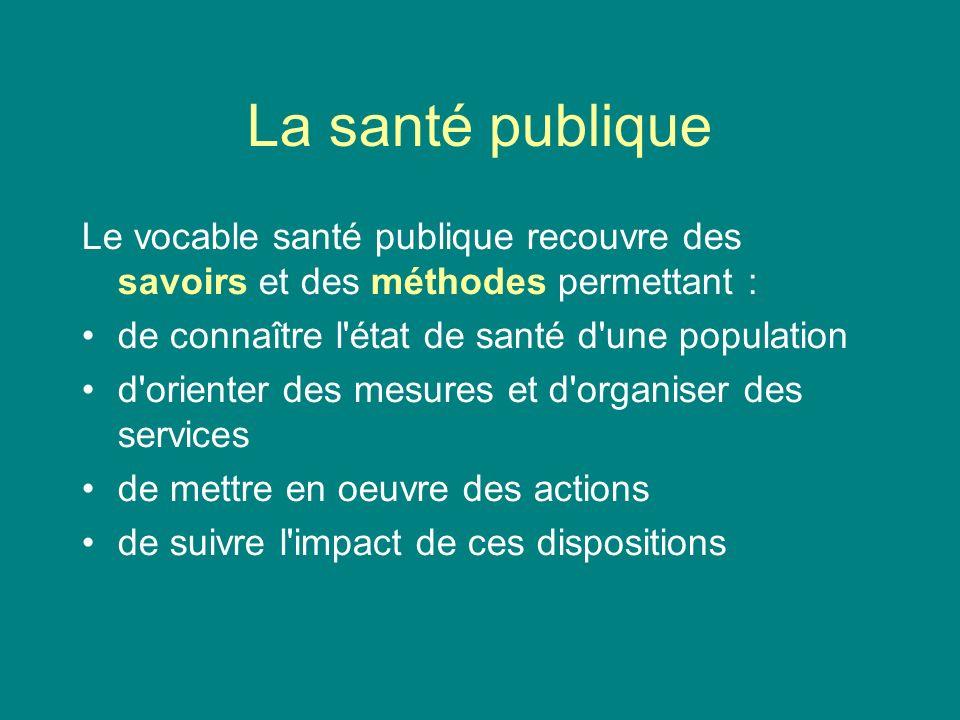 La santé publique Le vocable santé publique recouvre des savoirs et des méthodes permettant : de connaître l'état de santé d'une population d'orienter