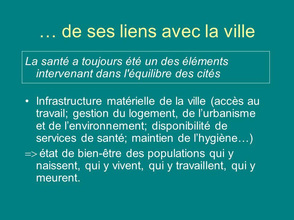 … de ses liens avec la ville La santé a toujours été un des éléments intervenant dans l'équilibre des cités Infrastructure matérielle de la ville (acc