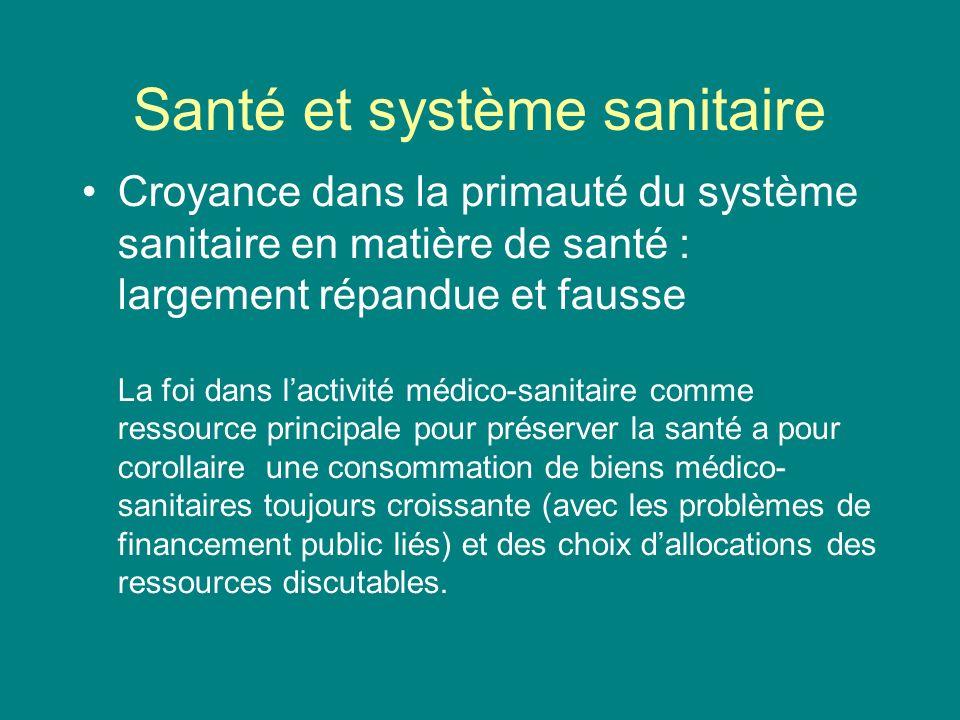 Santé et système sanitaire 4 types de facteurs agissent sur la qualité ou la quantité de vie dune population: la culture et les conditions socio- économique le patrimoine génétique lenvironnement (éco-système) et les services sanitaires.