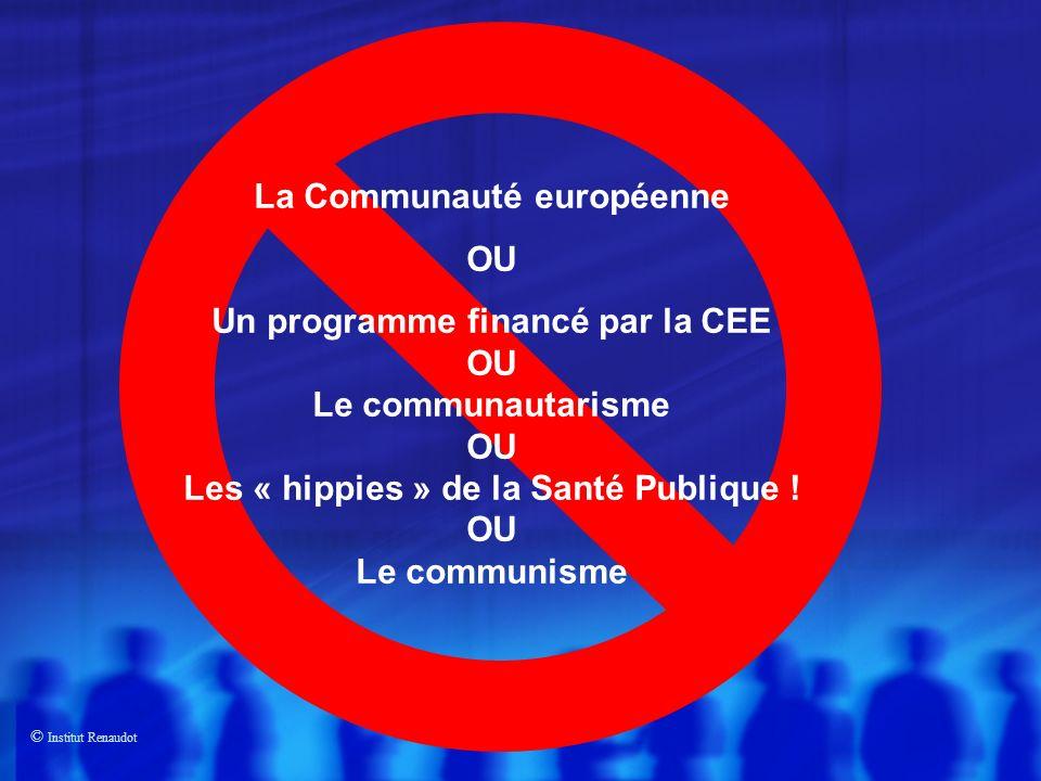 © Institut Renaudot La Communauté européenne OU Un programme financé par la CEE OU Le communautarisme OU Les « hippies » de la Santé Publique .