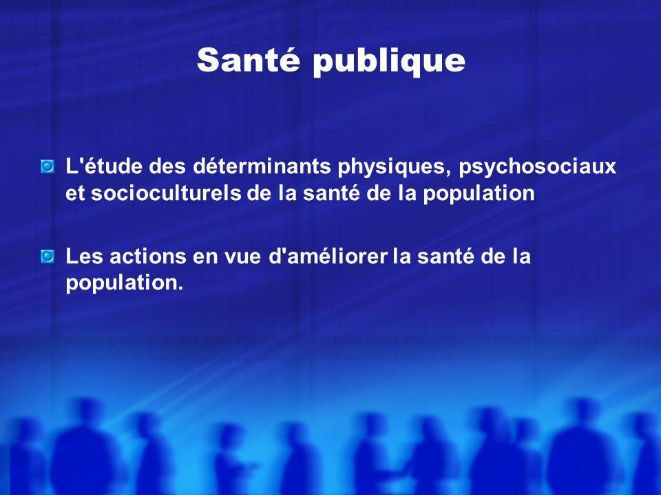 Santé publique L étude des déterminants physiques, psychosociaux et socioculturels de la santé de la population Les actions en vue d améliorer la santé de la population.