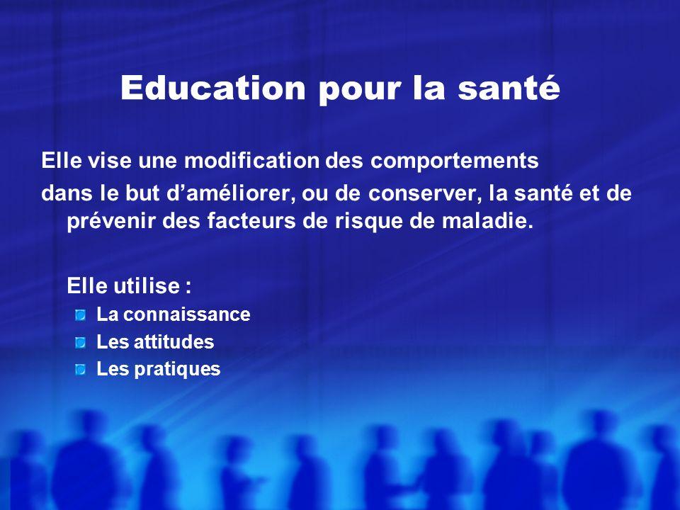 Education pour la santé Elle vise une modification des comportements dans le but daméliorer, ou de conserver, la santé et de prévenir des facteurs de risque de maladie.