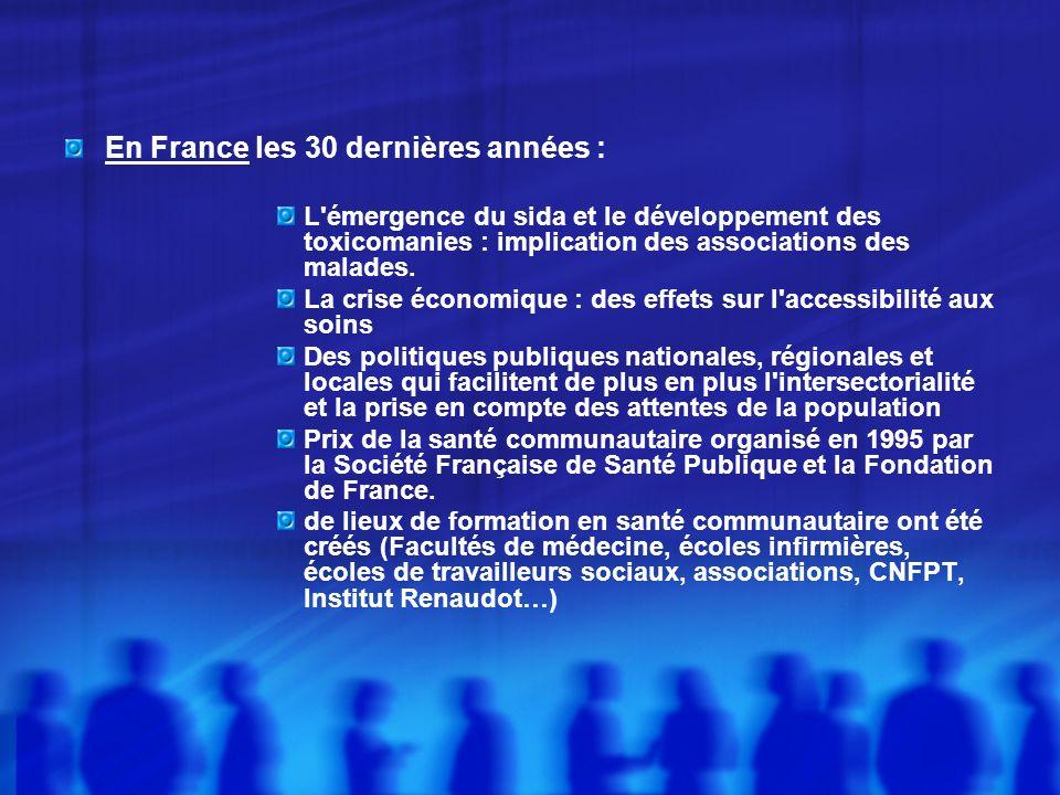 En France les 30 dernières années : L émergence du sida et le développement des toxicomanies : implication des associations des malades.