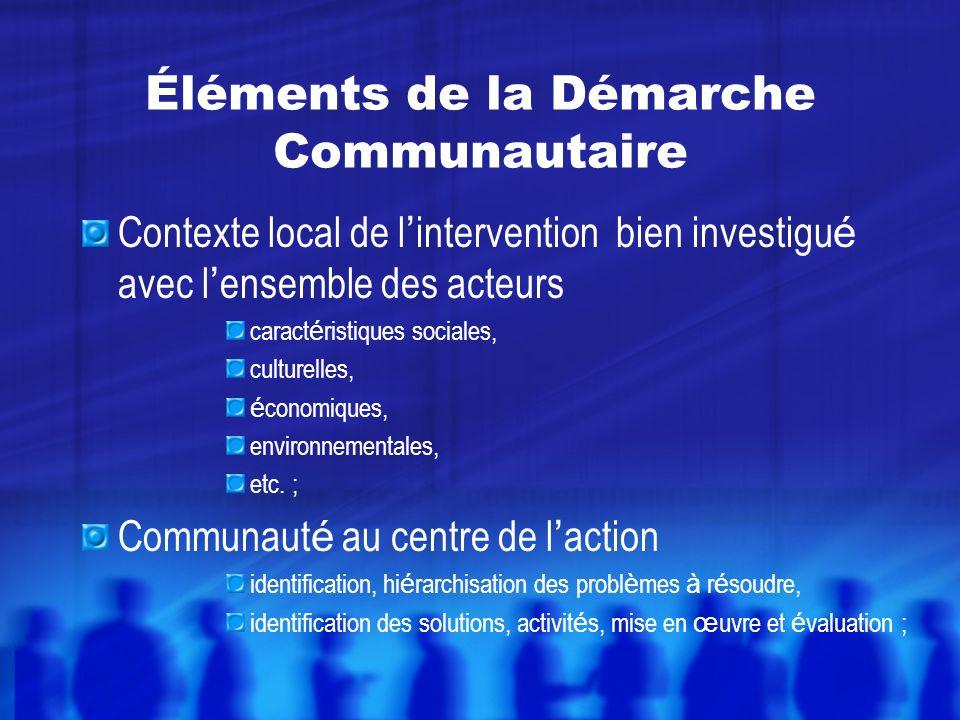 Contexte local de l intervention bien investigu é avec l ensemble des acteurs caract é ristiques sociales, culturelles, é conomiques, environnementales, etc.