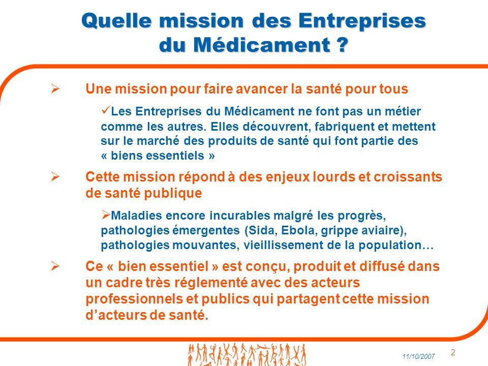 2 11/10/2007 Quelle mission des Entreprises du Médicament .