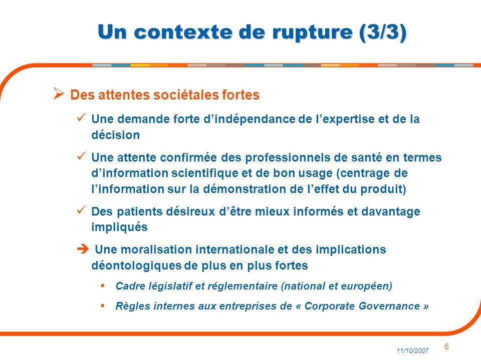 6 11/10/2007 Un contexte de rupture (3/3) Des attentes sociétales fortes Une demande forte dindépendance de lexpertise et de la décision Une attente c