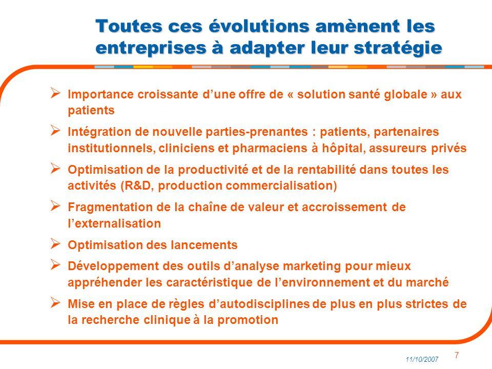 7 11/10/2007 Importance croissante dune offre de « solution santé globale » aux patients Intégration de nouvelle parties-prenantes : patients, partena