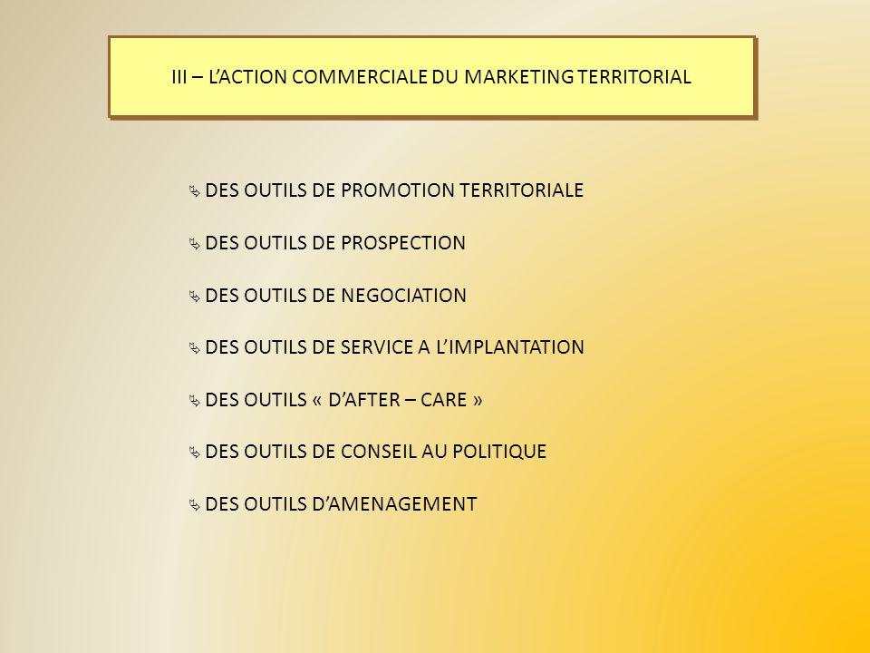 III – LACTION COMMERCIALE DU MARKETING TERRITORIAL DES OUTILS DE PROMOTION TERRITORIALE DES OUTILS DE PROSPECTION DES OUTILS DE NEGOCIATION DES OUTILS