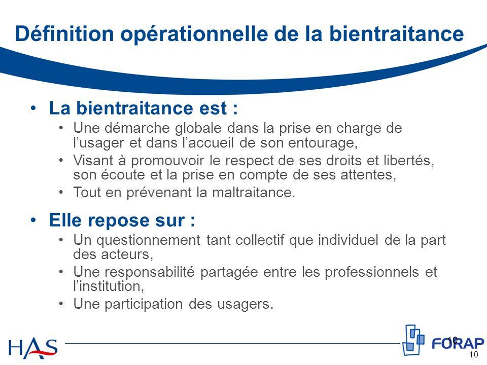 10 Définition opérationnelle de la bientraitance La bientraitance est : Une démarche globale dans la prise en charge de lusager et dans laccueil de so