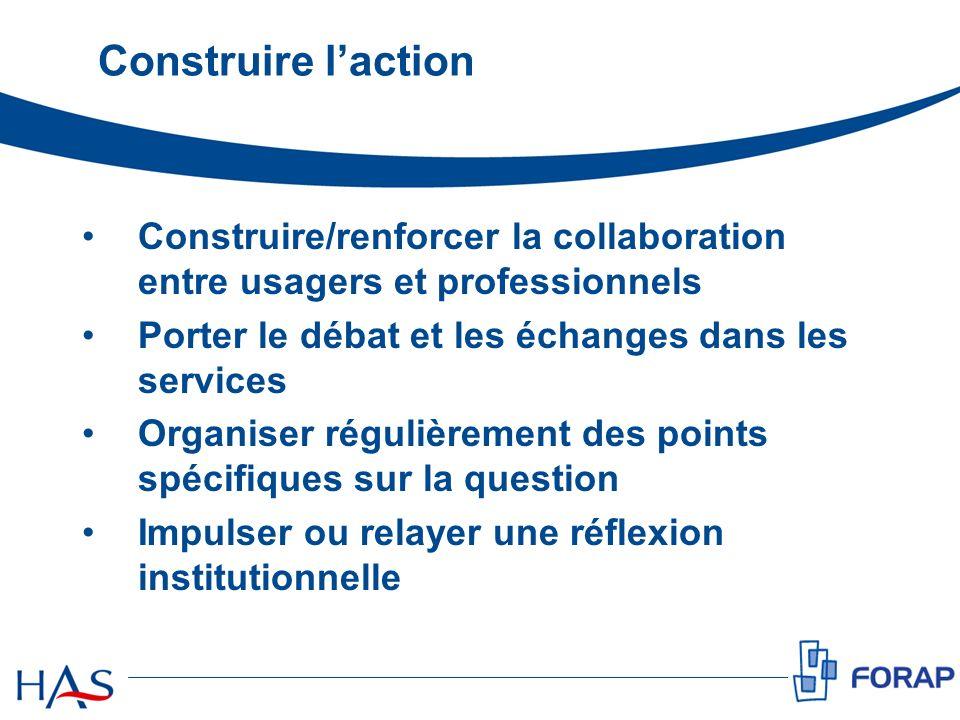 Construire laction Construire/renforcer la collaboration entre usagers et professionnels Porter le débat et les échanges dans les services Organiser r