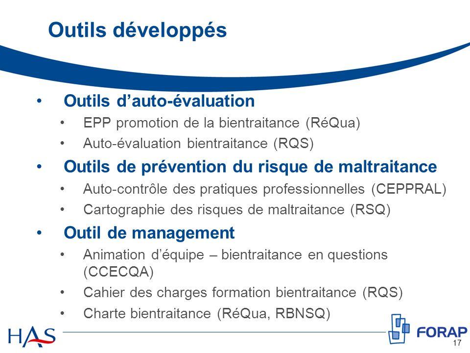 Outils développés Outils dauto-évaluation EPP promotion de la bientraitance (RéQua) Auto-évaluation bientraitance (RQS) Outils de prévention du risque