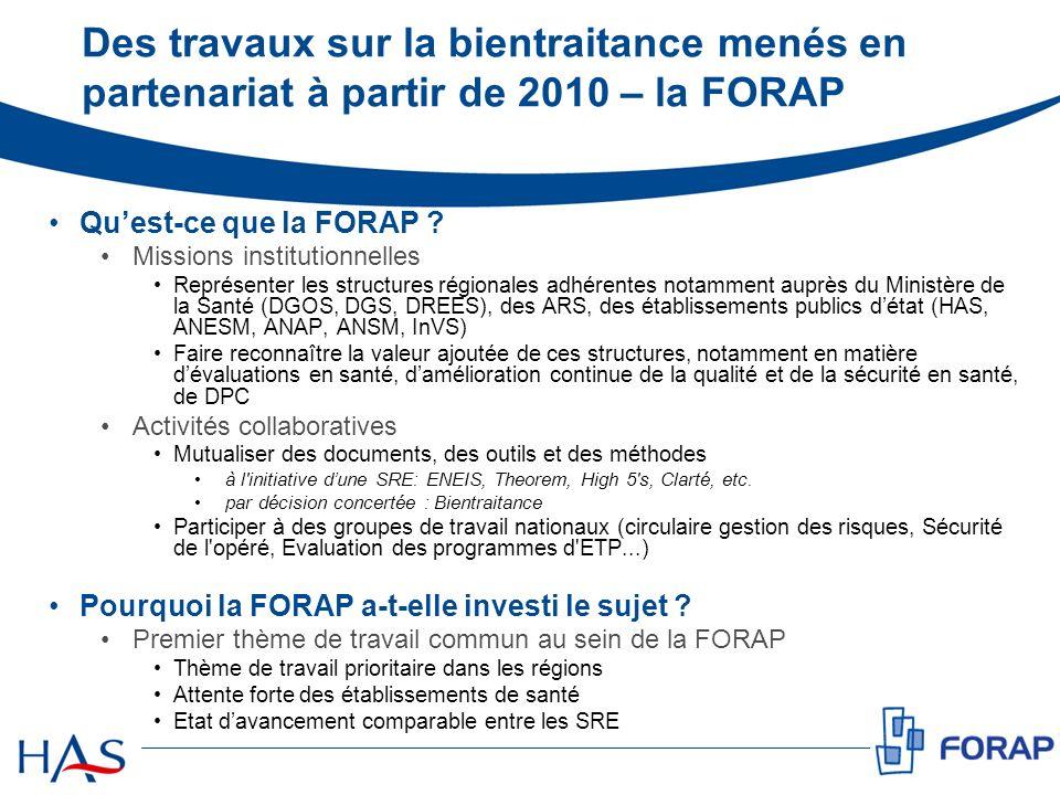 Des travaux sur la bientraitance menés en partenariat à partir de 2010 – la FORAP Quest-ce que la FORAP ? Missions institutionnelles Représenter les s