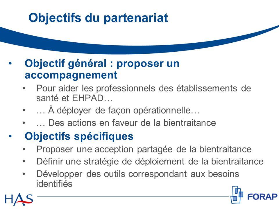 Objectifs du partenariat Objectif général : proposer un accompagnement Pour aider les professionnels des établissements de santé et EHPAD… … À déploye