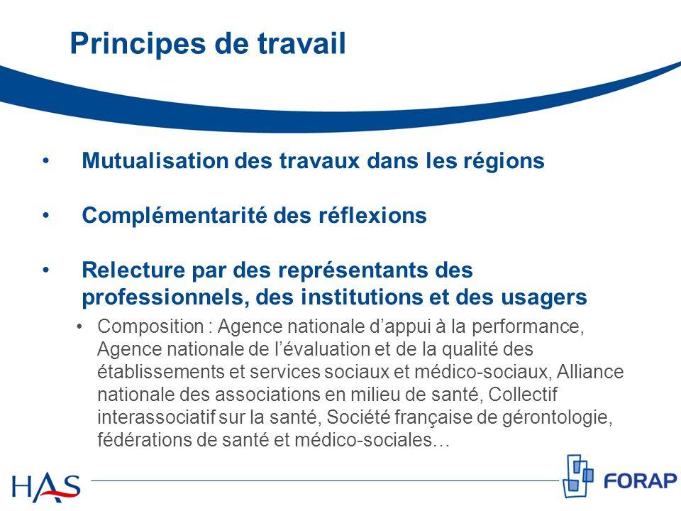 Principes de travail Mutualisation des travaux dans les régions Complémentarité des réflexions Relecture par des représentants des professionnels, des