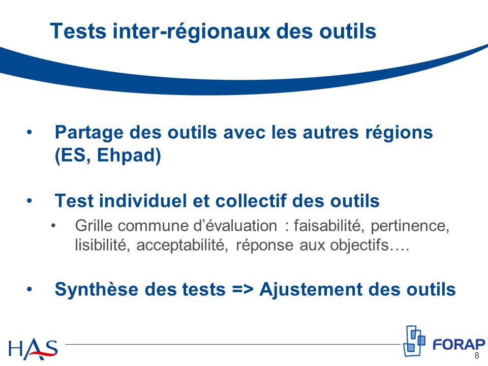 Tests inter-régionaux des outils Partage des outils avec les autres régions (ES, Ehpad) Test individuel et collectif des outils Grille commune dévalua