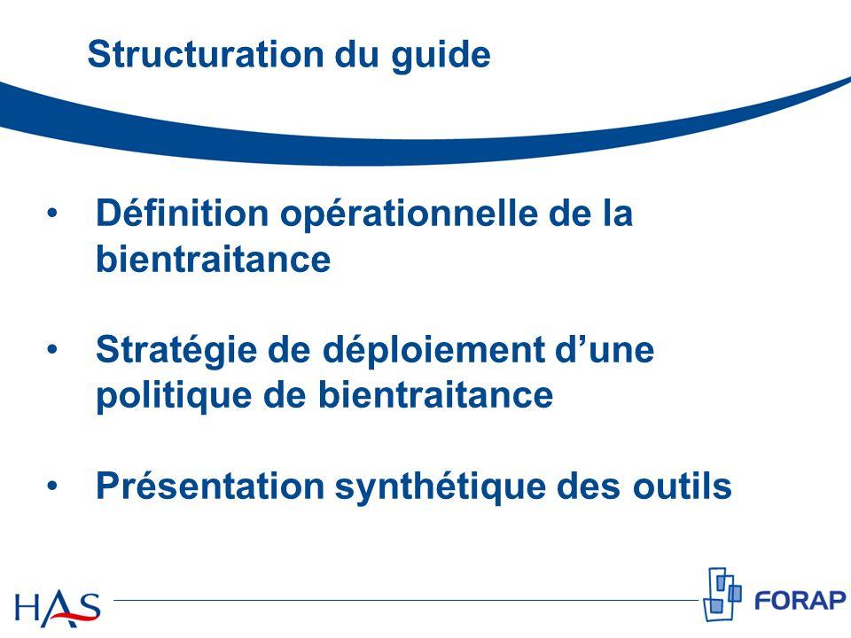 Structuration du guide Définition opérationnelle de la bientraitance Stratégie de déploiement dune politique de bientraitance Présentation synthétique