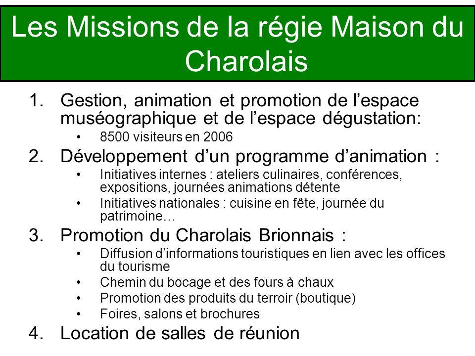 1.Gestion, animation et promotion de lespace muséographique et de lespace dégustation: 8500 visiteurs en 2006 2.Développement dun programme danimation