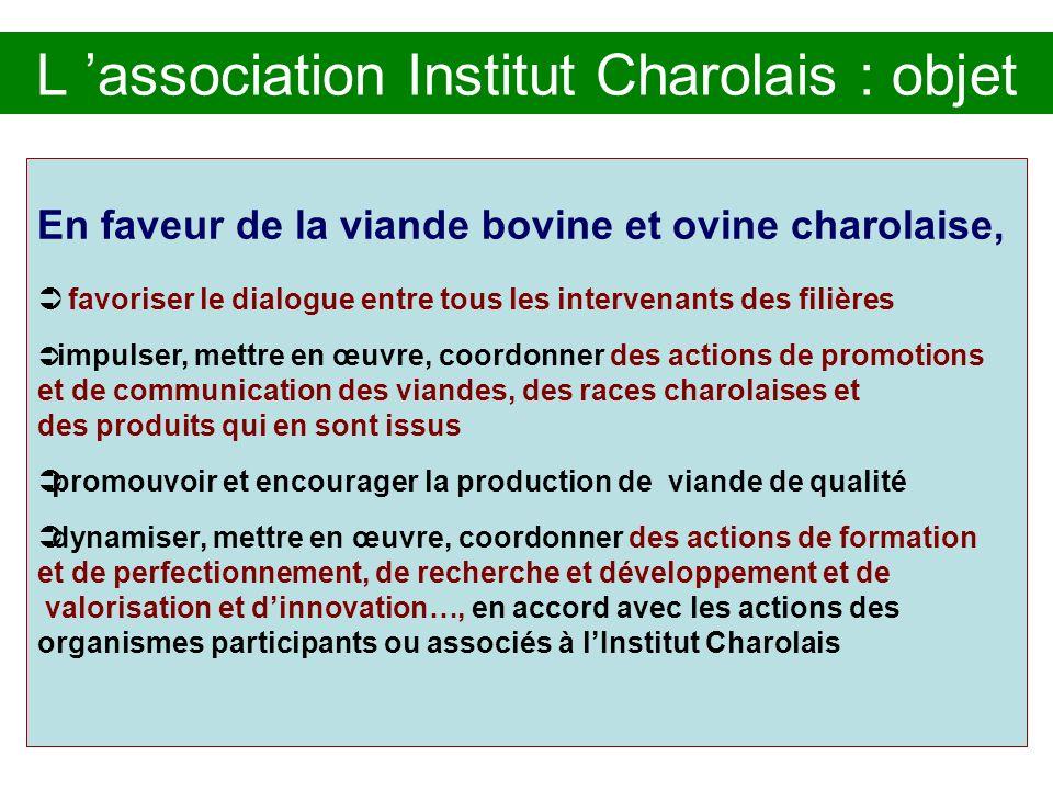 L association Institut Charolais : objet En faveur de la viande bovine et ovine charolaise, favoriser le dialogue entre tous les intervenants des fili