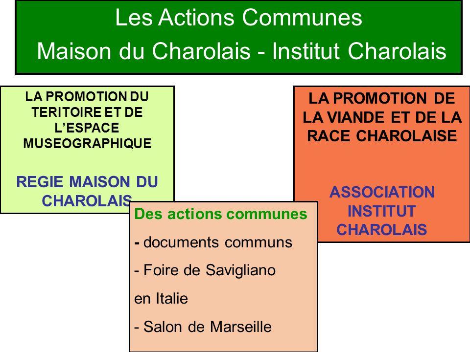Les Actions Communes Maison du Charolais - Institut Charolais LA PROMOTION DE LA VIANDE ET DE LA RACE CHAROLAISE ASSOCIATION INSTITUT CHAROLAIS LA PRO