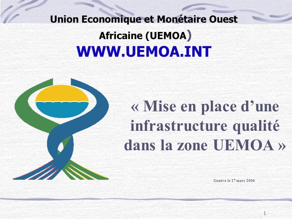 1 Union Economique et Monétaire Ouest Africaine (UEMOA ) WWW.UEMOA.INT « Mise en place dune infrastructure qualité dans la zone UEMOA » Genève le 17 m