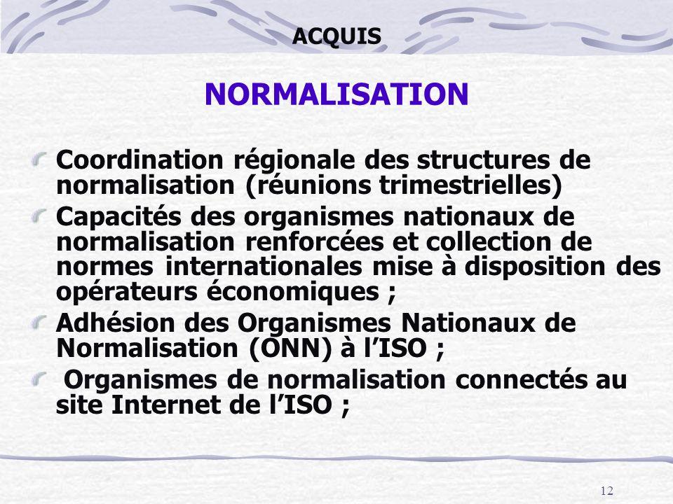 12 ACQUIS NORMALISATION Coordination régionale des structures de normalisation (réunions trimestrielles) Capacités des organismes nationaux de normali