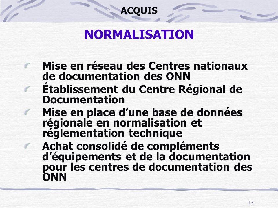 13 ACQUIS NORMALISATION Mise en réseau des Centres nationaux de documentation des ONN Établissement du Centre Régional de Documentation Mise en place