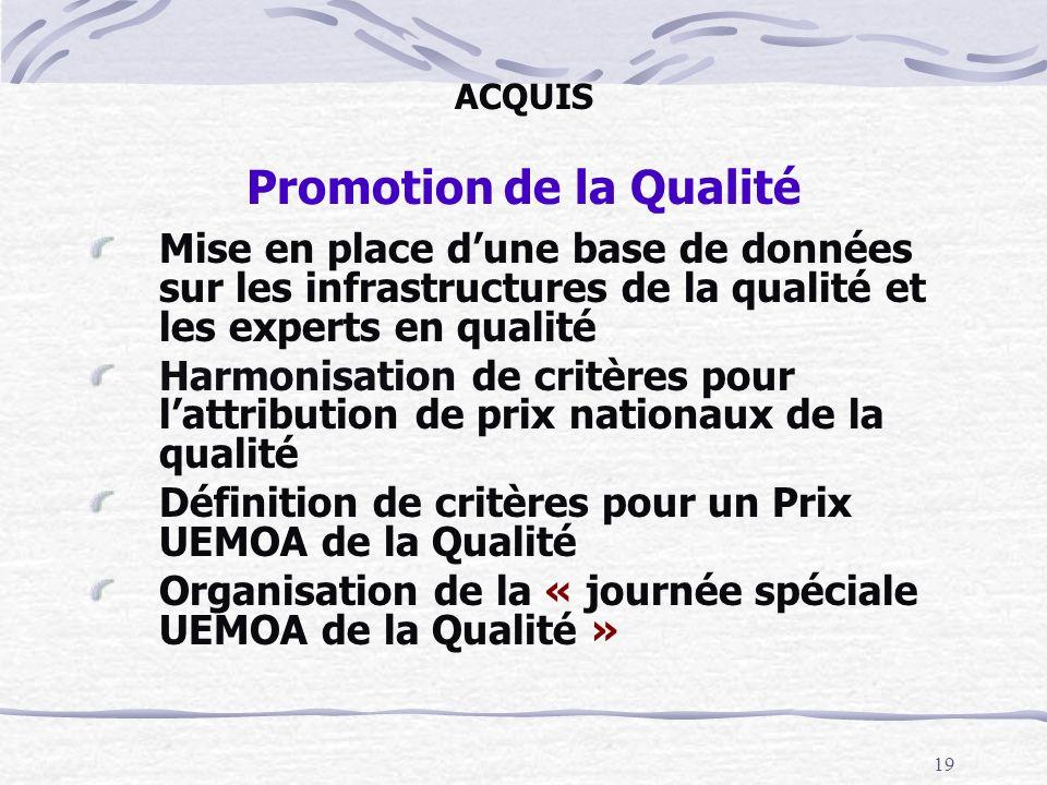 19 ACQUIS Promotion de la Qualité Mise en place dune base de données sur les infrastructures de la qualité et les experts en qualité Harmonisation de