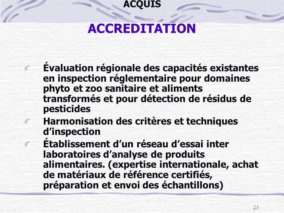 23 ACQUIS ACCREDITATION Évaluation régionale des capacités existantes en inspection réglementaire pour domaines phyto et zoo sanitaire et aliments tra