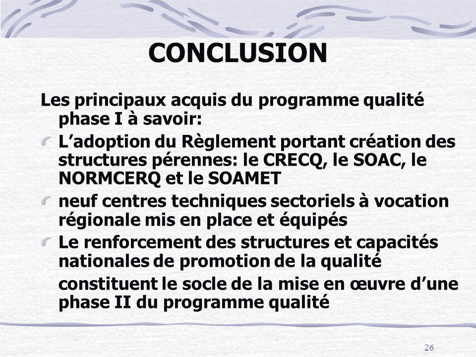26 CONCLUSION Les principaux acquis du programme qualité phase I à savoir: Ladoption du Règlement portant création des structures pérennes: le CRECQ,